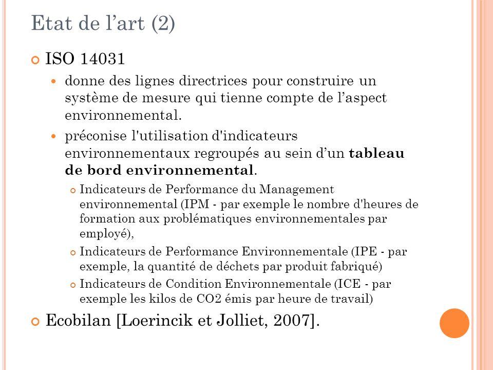 Etat de l'art (2) ISO 14031 Ecobilan [Loerincik et Jolliet, 2007].